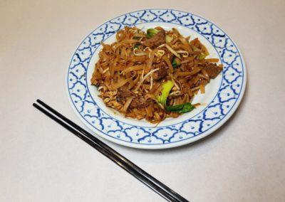 Pâtes de riz sautées au boeuf
