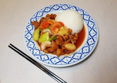Porc aigre-doux avec riz