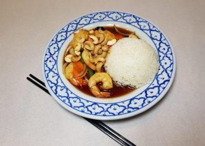 Crevettes aux noix de cajou avec riz